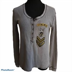 We the Free thermal knit military henley grey S